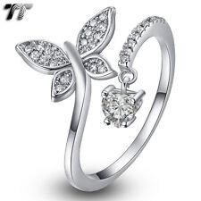 TT 18K White Gold GP Butterfly Dangle Heart Bling CUFF Band Ring Sz 4-9 (RF113)