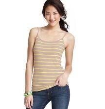 NWT Ann Taylor Loft Khaki & Neon Yellow Stripe Slubbed Layer Tank Top  Shirt M-L