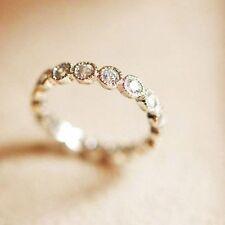 White Gold gp lab Diamond Wedding Floating Eternity Anniversary Dot Band Ring