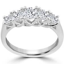 1 Ct 5-Stone Graduated Real Round Diamond Wedding Engagement Ring 14K White Gold