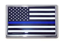 Police Department Chrome Metal Auto Emblem (Blue Line) (USA Flag) Occupational