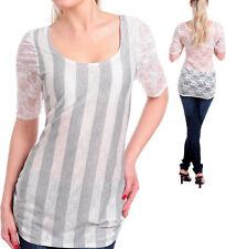 New Women's Shirt Blouse Lace Top Grey Stripes XL-3XL