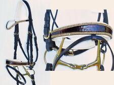 FSS MOCK CROC MAROON Curve CRYSTAL BLING Comfort PATENT Square Cream Pad Bridle