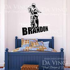 Motocross Motorcycle Racing Bike Wall Room Custom Name Vinyl Wall Decal Sticker