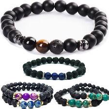 Beads Black Matt Howlite Lava Imperial Jasper agate Beaded Bracelet Men/Women UK