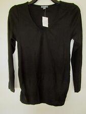 Ladies Patch Maternity merino wool v neck long top sweater Size M & XL   BLACK