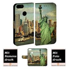 One Plus 5 Handy Hülle Tasche mit Freiheitsstatue + Foto + Text Logo Druck Etui