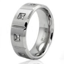 Stainless Steel Cubic Zirconia Eternity Mens Wedding Ring 8MM