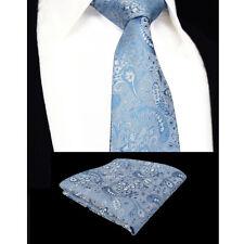 de luxe pâle bleu ciel Cravate Hommes Mouchoir soie ensemble Poche Carré