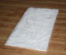 PURE WHITE Faux FUR area Rug 3' x 5' washable non-slip MADE IN USA
