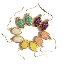 European and American New Rainbow Framed Claw Druzy Drop Dangle Copper Earrings