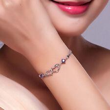 Womens Girls Hollow Heart Charms Bracelet Silver Rhinestone Gift Jewelry L