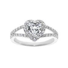 14k White Gold 1 3/8ct TGW Heart-cut Diamonette Engagement Ring