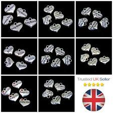 5 Pcs Tibetan Silver Heart Charms Bride Bridesmaid Wedding Baby Pendants ML