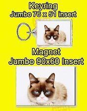 BLUE EYED CAT GRUMPY JUMBO FRIDGE MAGNET OR JUMBO KEYRING OR SET OF 2 DAD MUM