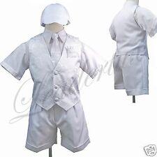 White Boy Infant & Toddler Baptism Jacquard Vest Shorts Suit S M L XL 2T 3T 4T