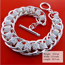 Bracelet Bangle 925 Sterling Silver S/F Solid Ladies Antique Link Tbar Design