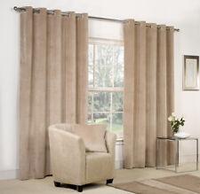 NEW Beige Velvet Ring Top / Eyelet Curtains - Fully Lined - 9 Sizes