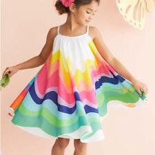 Summer Toddler Baby Girls Sleeveless Rainbow Print Skirt Vest Dresses Clothes