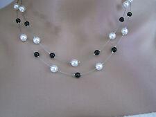 Collier Noir Blanc p robe de Mariée/Mariage/Soirée perles, pas cher petit prix