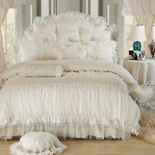 Cotton Jacquard White Lace Princess Bedding Set Bed Skirt Duvet Cover Pillowcase
