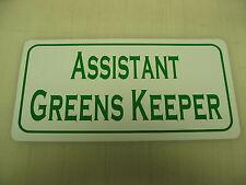 ASSISTAT GREENS KEEPER Sign Golf Course Mower Club Tin