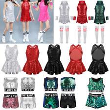 Sequins Girls Jazz Hip Hop Dance Costume Kids Modern Street Dancing Dress Outfit