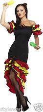 LADIES WOMEN RUMBA SPANISH FLAMENCO DANCER COSTUME FANCY NATIONAL DRESS UK 8-18