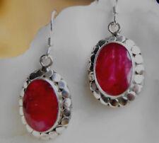 Handarbeit Groß Ohrringe Modern Glänzend Rubin Rot Silber Oval Ohrhänger Kreise