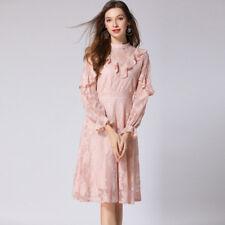 Elegante vestito abito scampanato rosa cipria maniche lungo  slim morbido 4289