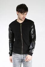 King Kouture Mens Boys WAFFLE PU Long Sleeve Zipper Zip Up Pique Bomber Jacket