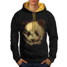 Wellcoda Panda Bear Cute Animal Mens Contrast Hoodie, Bamboo Casual Jumper