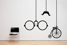 Vintage antiguo arte Penny Farthing Bicicleta Y Gafas. Vinilo Pared Adhesivo Calcomanía.