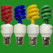 8x 15w de color CFL Bajo Consumo Espiral Fiesta Bombillas, Bayoneta, BC, B22