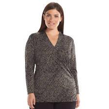 Apt 9 Woman Crossover Tunic Snake Skin Print 1X 2X Long Sleeves NWT $44