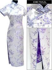 Sexy Chinese Traditional Women Long Evening Wedding Dress Qipao Cheongsam Purple