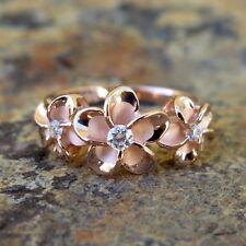 Hawaiian Silver Rose Pink Gold 3 Plumeria Flowers CZ Wedding Ring Band SR3379