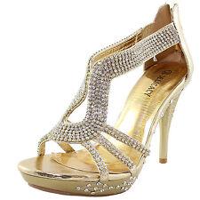New women's shoes evening rhinestones back zipper high heel wedding prom gold