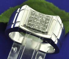 18k Solid White Gold 0.65ct MensNatural Diamond Ring VS2 F  Invisible Set
