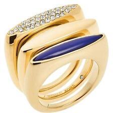 MICHAEL KORS GOLD TONE,BLUE LAPIS,CRYSTAL,SET OF 3 STACKING RINGS SIZE 6 MKJ4512