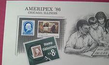 B90 SOUVENIR Cards BEP 1986 Ameripex Franklin Pair (924 mint )+(925 Canceled)