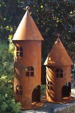 Edelrost Windlicht Turm Gartendekoration Leuchtturm Rund Fenster Beleuchten