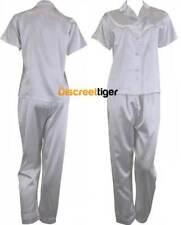 White Satin Pyjamas Silk PJs Short Sleeve Long Pants Pajamas Plus Size 6 - 26