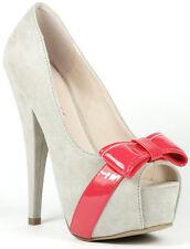 Light Grey Faux Suede w Pink Bow Open Toe High Heel Platform Pump Wild Lounge