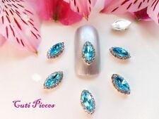 3D Nail Art Frozen Sea Blue Almond Rhinestone Silver Frame Jewel Gem Alloy Metal