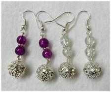 Dangle earrings - Silver filigree + glass beads - 2 colours