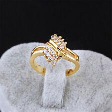 Wedding Ring Golden Plated Ring Round Rhinestone Crystal Engagement Jewelry DM