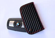 Genuime Carbon Fiber Leather Smart Remote Start Key Fob Holder for BMW