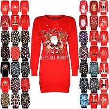 Womens Ladies Christmas Fleece Santa Rudolph Beer Long Tunic Sweatshirt Dress