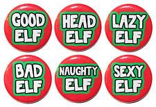 "1.25"" (32mm) Christmas ELF! GOOD ELF/ BAD ELF / NAUGHTY ELF Button Badge Pins"